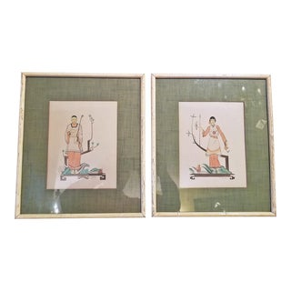 Early 20th Century Art Deco Mixed Media Paintings by Robert Reinhardt Von Liski - a Pair For Sale