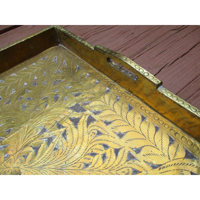Antique Ornate Hammered Brass Wood Serving Tray - Image 6 of 11