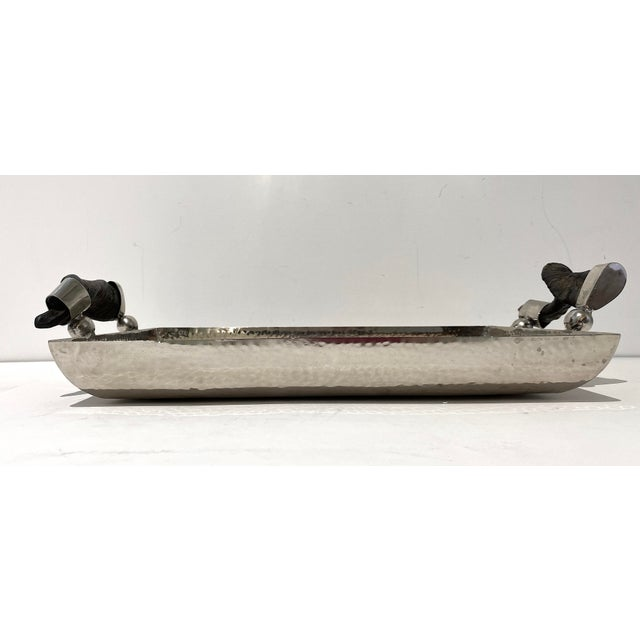 Vintage Serving Tray Hammered Steel With Horn Handles For Sale - Image 10 of 11