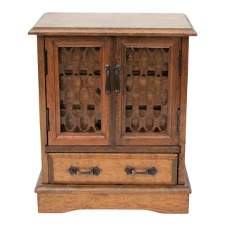 1960s Armoire Style Wood Jewlery Box For Sale