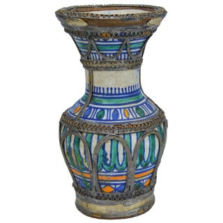 Antique Moroccan Ceramic Vase With Filigree For Sale