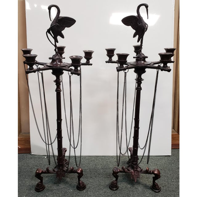 Mid 20th Century French Neo-Grecian Style Bronze Alloy Candelabras - a Pair For Sale - Image 9 of 9