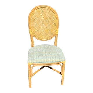 Woven Reed and Rattan Dining Chairs With Leather Wrapped Joints For Sale
