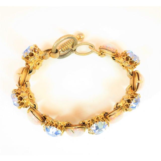 Metal Schiaparelli Opal Art Glass Bracelet Suite 1950s For Sale - Image 7 of 13