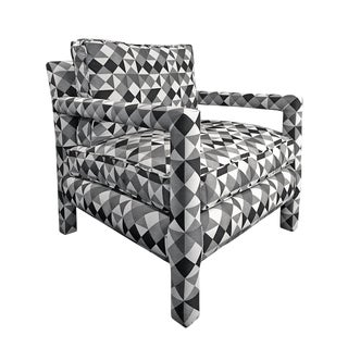 1970s Milo Baughman Style Parsons Lounge Chair in Black, White and Grey Geometric Fabric For Sale