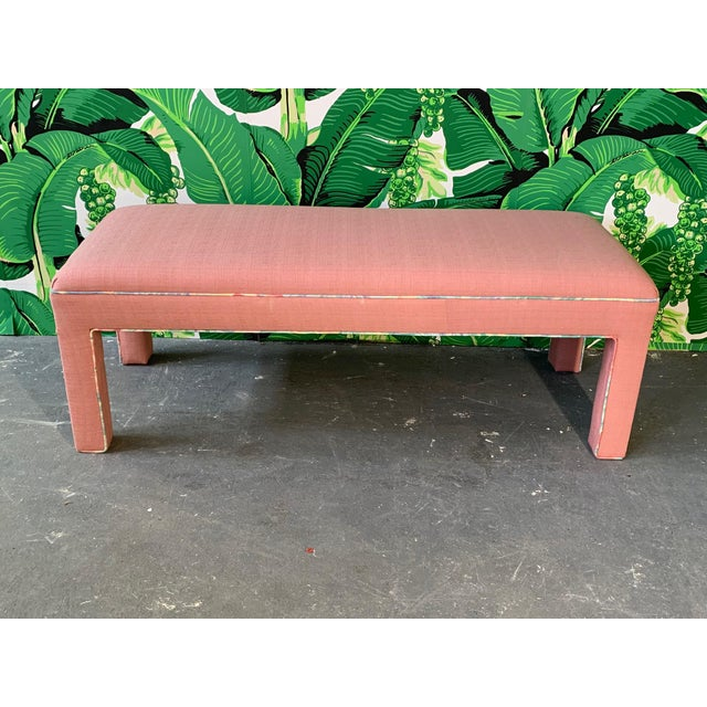 Mid-Century Modern Pink Upholstered Bench Seat Circa 1980s For Sale - Image 3 of 8