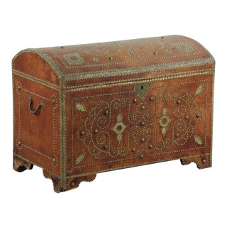 Campaign Style Brass Nailhead Leather Trunk For Sale