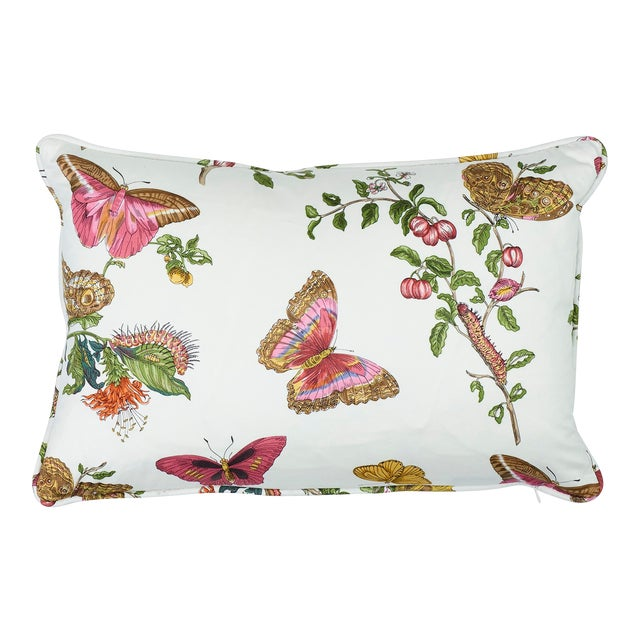 Schumacher Baudin Butterfly Chintz Pillow in Blush For Sale