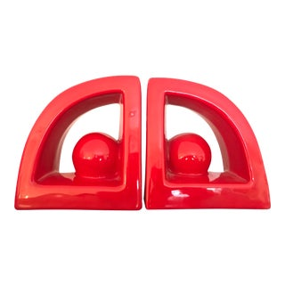 Postmodern Jaru Red Ceramic Bookends - a Pair For Sale