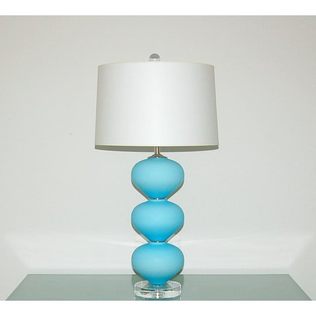 Italian Vintage Murano Glass Stacked Table Lamps Blue Satin For Sale - Image 3 of 9