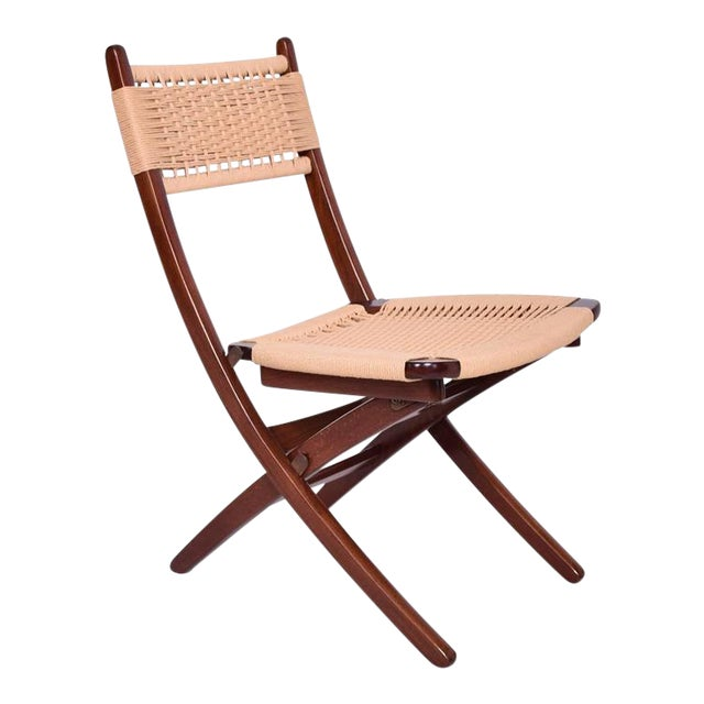 Mid-Century Danish Modern Rope Folding Chair For Sale