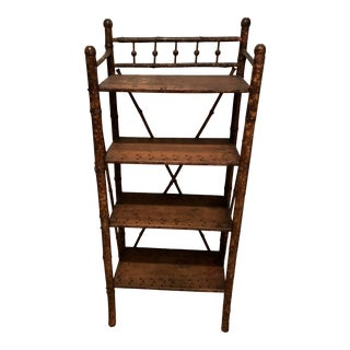 Antique Tiger Bamboo Bookshelf For Sale