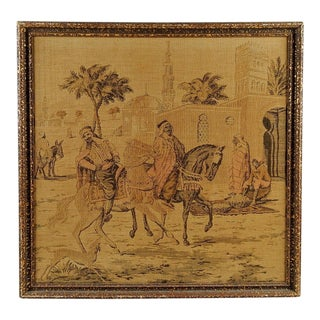 1930s Vintage Bedouin on Horseback Framed Tapestry For Sale