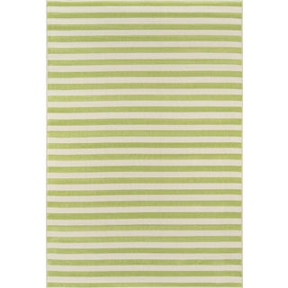 "Momeni Baja Green Stripe Indoor/Outdoor Rug - 7'10"" X 10'10"" For Sale"