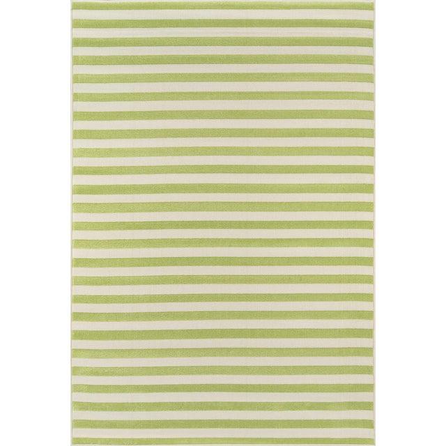 """Momeni Baja Green Stripe Indoor/Outdoor Rug - 7'10"""" X 10'10"""" For Sale"""