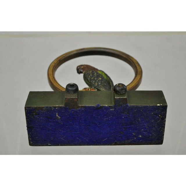 Antique Parrot on Swing Art Deco Bradley & Hubbard Cast Iron Doorstop For Sale - Image 9 of 12