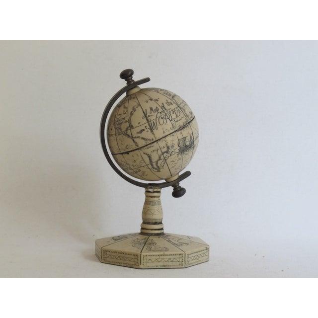 Faux Ivory Carved Resin Desk Globe - Image 2 of 5