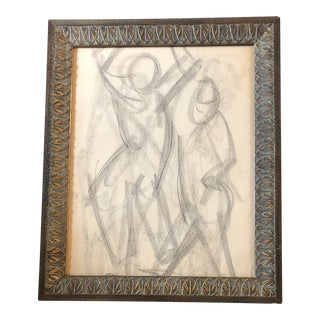 Original Vintage Charcoal Abstract Figure Study For Sale