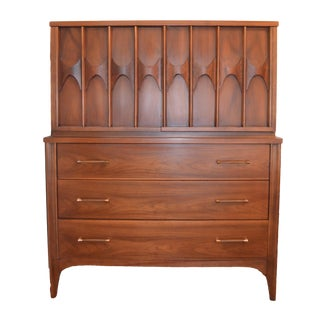 1960s Vintage Kent Coffey Mid Century Modern High Boy Gentleman's Chest For Sale