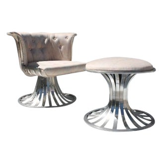 Russell Woodard Swivel Aluminum Chair & Ottoman