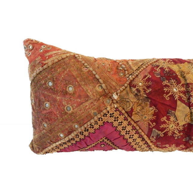 Indian Custom Made Patchwork Long Pillow For Sale - Image 4 of 8