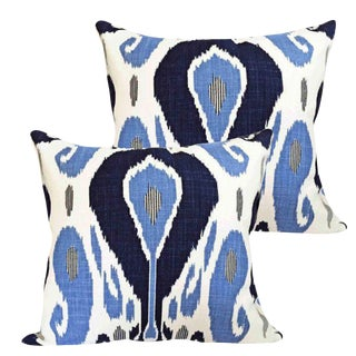 Robert Allen Bodrum Down Feather Ikat Accent Pillows - Set of 2 For Sale