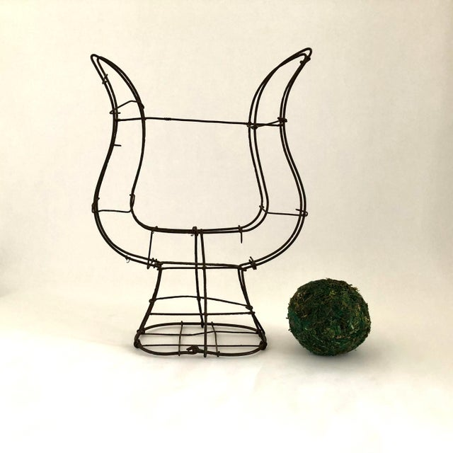 1950s Vintage Wire Topiary in the Shape of a Lyre For Sale - Image 12 of 13