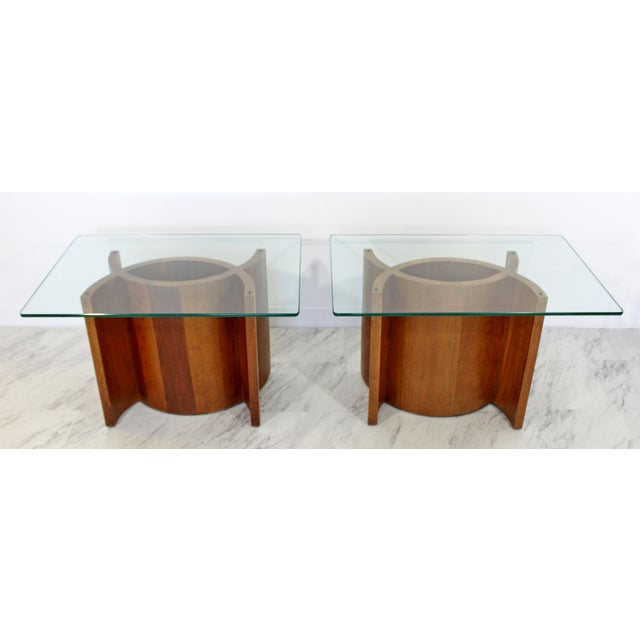 Mid 20th Century Mid Century Modern Sculptural Wood Glass End Tables - a Pair For Sale - Image 5 of 11