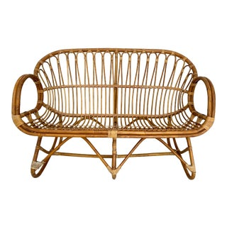 Vintage Albini Style Rattan Loveseat For Sale