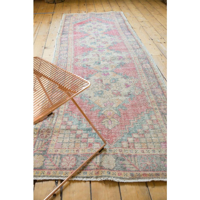 "Textile Vintage Distressed Oushak Rug Runner - 3'5"" X 9'5"" For Sale - Image 7 of 11"