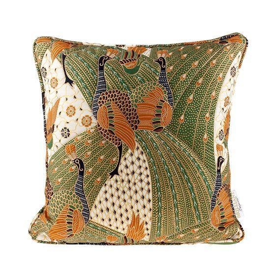 Quilted Green Peacock Batik Throw Pillow - Image 1 of 2