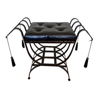 Sculptural X-Form Gilt Iron and Tufted Leather Bench Stool For Sale