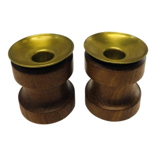 Mid Century Teak Candle Holders - A Pair For Sale