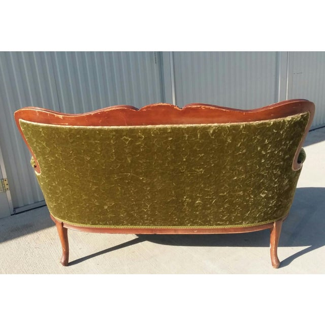 Traditional Antique Victorian Velvet Sofa Settee Green For Sale - Image 3 of 13