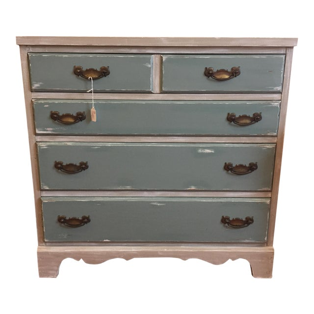 Gray & Teal Distressed Dresser - Image 1 of 5