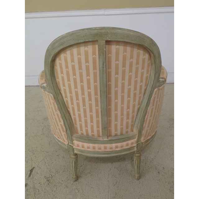 1980s Vintage French Louis XV Style Paint Decorated Bergere Chair For Sale - Image 10 of 12