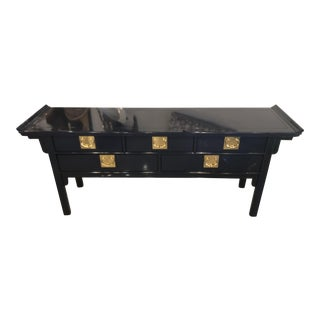 Vintage Century Furntiure Pagoda Navy Blue Lacquered Brass Hardware Console Table