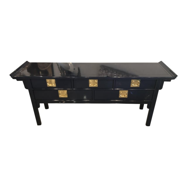 Vintage Century Furntiure Pagoda Navy Blue Lacquered Brass Hardware Console Table For Sale
