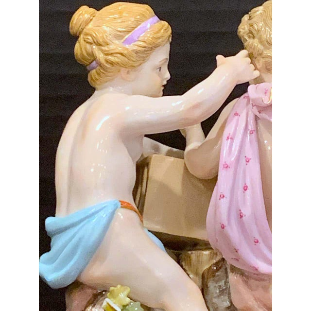 Antique White 19th Century Meissen Grouping of Two Boys With Rooster and Cage For Sale - Image 8 of 11