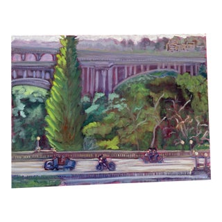 """""""Ride to the Rose Bowl"""" Contemporary Plein Air Oil Painting For Sale"""