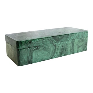 Faux Malachite Trinket Box For Sale