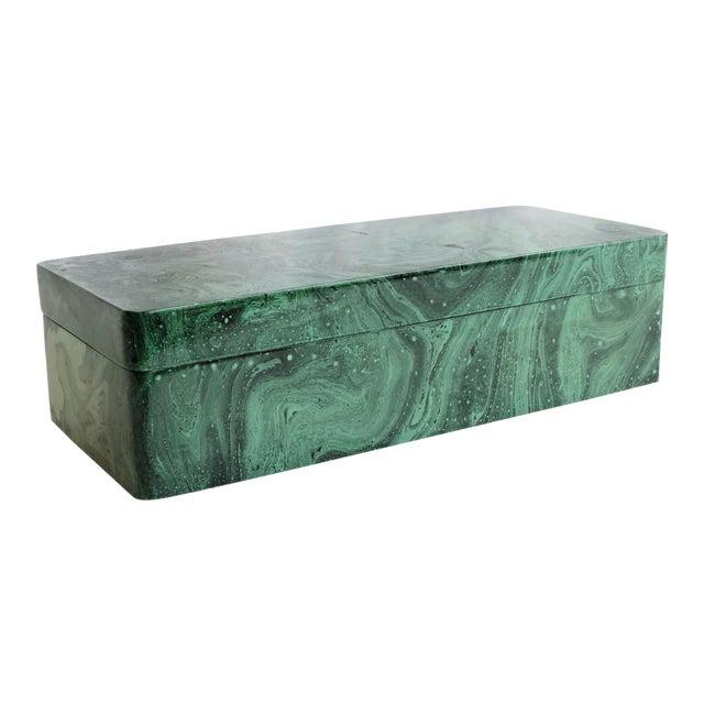 Faux Malachite Trinket Box For Sale