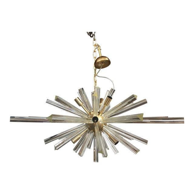 Murano Glass Triedo Sputnik Gold Brushled Chandelier For Sale