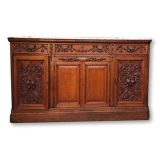 1800s Antique French Carved Marble Top Buffet