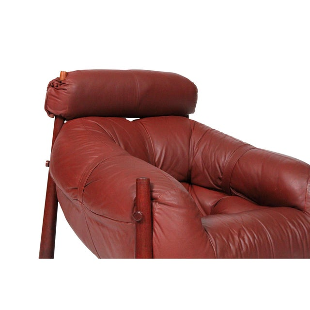 Wood Brazilian Leather Lounge Chair by Percival Lafer For Sale - Image 7 of 13