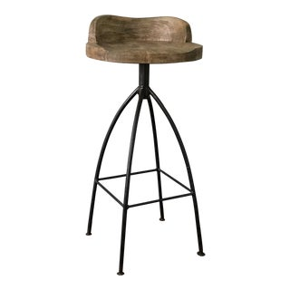 Arteriors Burnished Metal Seat Swivel Bar Stool