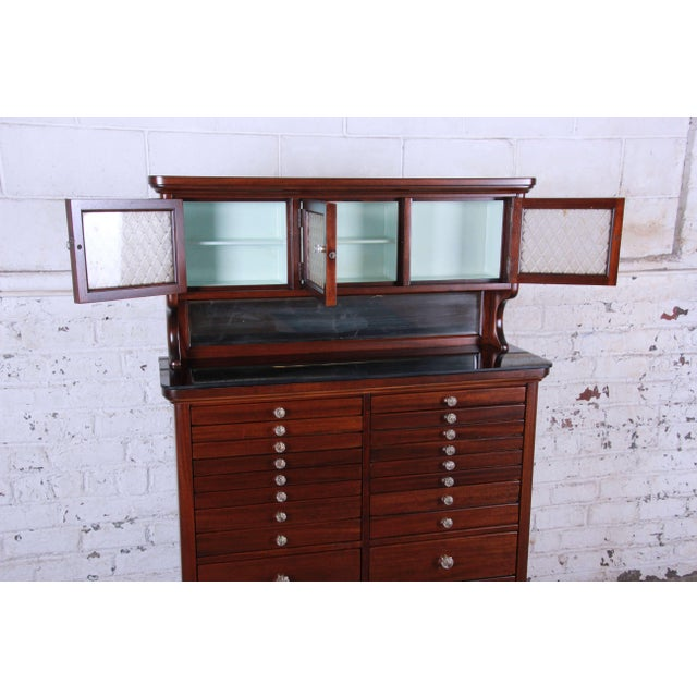 1920s Exceptional Antique 22 Drawer Mahogany Dental Cabinet For Sale - Image 4 of 13