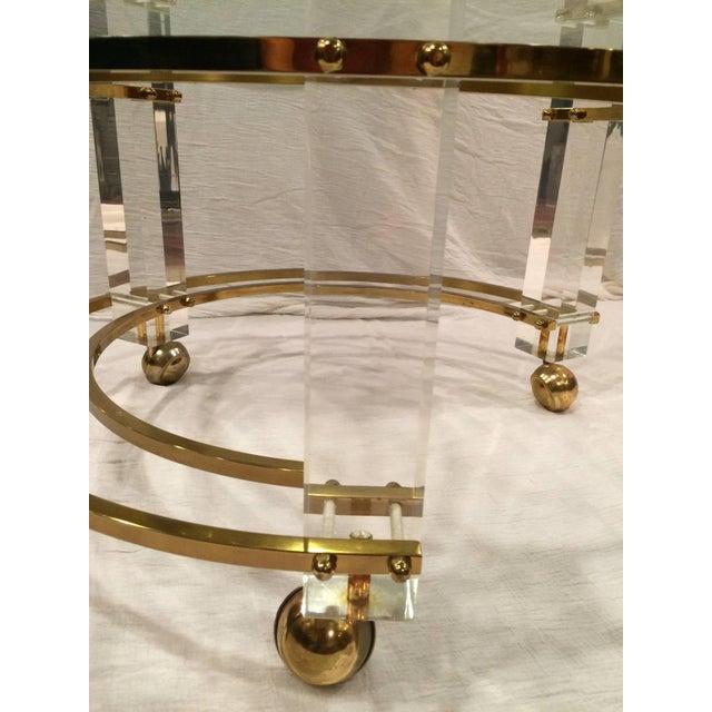 Metal Charles Hollis Jones Hollywood Regency Lucite & Brass Coffee Table For Sale - Image 7 of 10