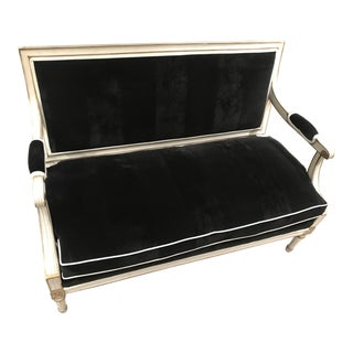 1980s Hollywood Regency Black Velvet Settee Loveseat