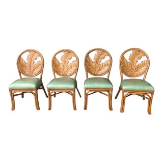 1980s Vintage Whitecraft Carved Wood and Rattan Dining Chairs- Set of 4 For Sale